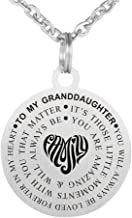 Inspirational Gift to Granddaughter You are Amazing Stainless Steel Dog Tag Necklaces Keychain Set