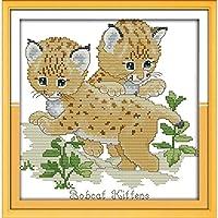 刺繍キット大人用の印刷済みクロスステッチキット2匹の猫刺繍写真初心者用40x50cmDIYアートクロスステッチキット子供クリスマスギフト家の装飾、11CT