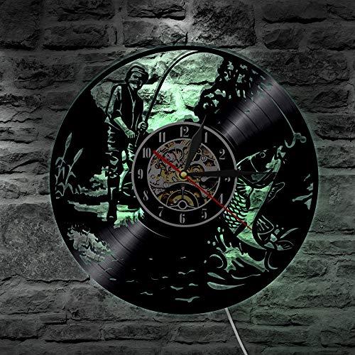 Reloj de pared de vinilo para hombre de pesca, función de luz nocturna, decoración de arte para colgar en la pared, regalo hecho a mano