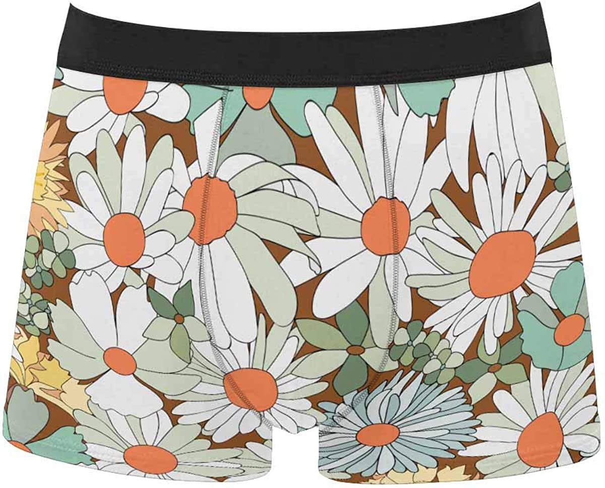 InterestPrint Men's Classic Fit Boxer Briefs Comfort Breathable Underwear Pattern with Seashells