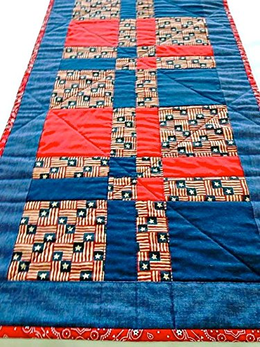Patriotic Quilted Table Runner - Red, White & Blue - 13-1/4 inches x 41-1/2 inches
