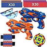 Ausein 2 Pack Toy Guns for Boys, Blaster Guns with Shooting Target, 60 Soft Foam Refill Darts,2 Foam Dart Wrist Band and 2 Safety Goggles, Kids Toy Pistol, Best Gifts for Age 3-10 Year Old