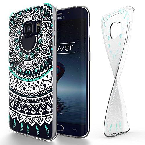 Urcover Custodia Protettiva Trend Fashion per Samsung Galaxy S6 Edge Plus | Back Cover Trasparente | Case Ultra Slim Silicone TPU Morbida in Mandala Menta