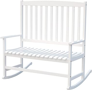 """Outsunny 46"""" 2-Person Acacia Wood Outdoor Porch Rocking Chair with Armrest - White"""