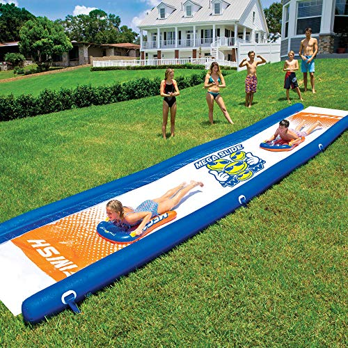 WOW World of Watersports Mega Slide 25 Feet x 6 Feet Giant Backyard Waterslide with Hand Pump and 2 Inflatable Sleds, 18-2200