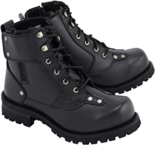 M Boss Apparel BOS49007 Mens 7 Inch Black Outlaw Leather Motorcycle Boots - 8.5