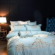 Nordic Minimalist Blue Satin Long-staple Cotton Embroidery Pattern 7-piece Bedding Set Simple Cotton Cotton Bedding Cotton...