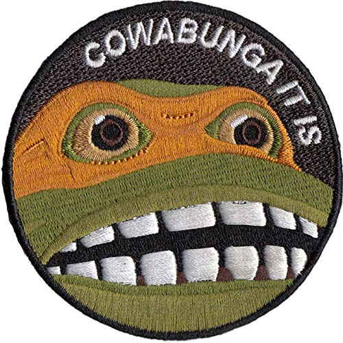 Cowabunga It is Embroidered Hook-Backed Morale Patch, Embroidered Patch Sew on Appliques Decorate Badge Hook-Backed Morale Patches Emblem DIY Accessories 3 Inch