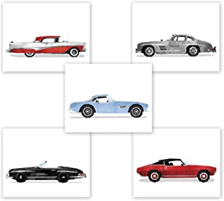 AtoZStudio Classic Car Wall Art - Set of 5 Prints // Game Room Decor // Boy Bedroom Posters // Transportation Car Nursery // Birthday Party Decoration // Vintage (8x10, Set 5)
