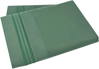 Mezzati Luxury Two Pillow Cases – Soft and Comfortable 1800 Prestige Collection – Brushed Microfiber Bedding (Emerald Green, Set of 2 Standard Size Pillow Cases)