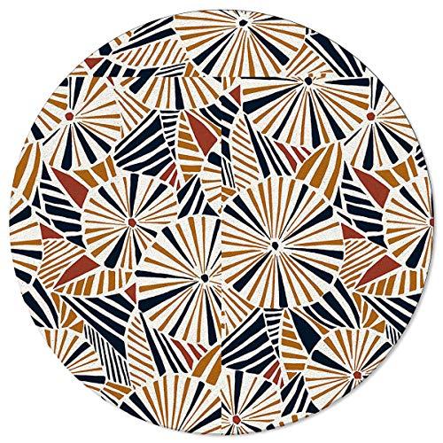 SunnyM Alfombras redondas de 1,2 m, paraguas Grométrico suave para interiores/sala de estar/dormitorio/sala de juegos infantiles/alfombrillas de cocina antideslizantes para yoga