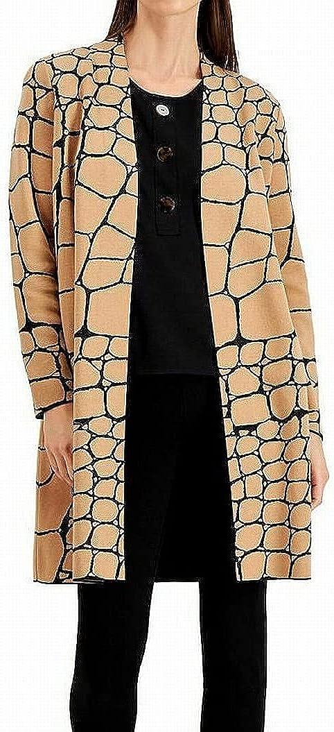 Alfani Women's Sweater Large Snake Pattern Long Cardigan Brown L