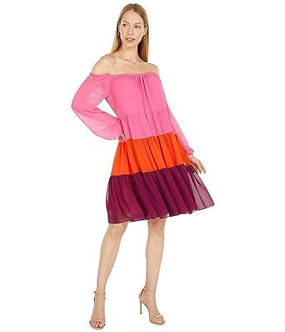 BCBGMAXAZRIA Color-Block Off-the-Shoulder Dress