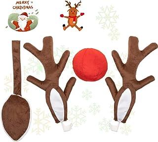 Abnaok Auto Rentier Kost/üm Weihnachtsdeko Auto Weihnachtsdeko Autokost/üm Reindeer mit Rote Nase f/ür Truck Van SUV