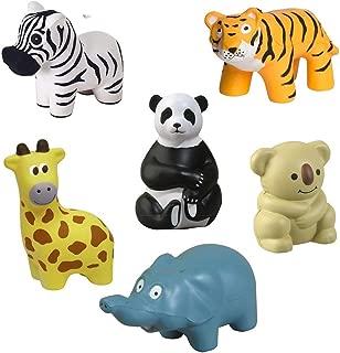GL Toys Zoo Animal Stress Toy Set of 6 (Elephant, Giraffe, Panda Bear, Koala, Zebra Tiger)