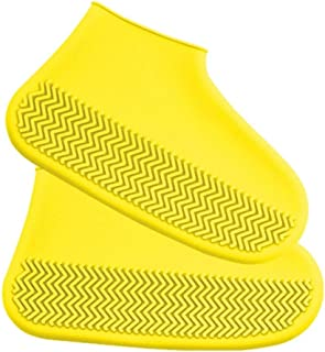 Silicone Waterproof Shoe Cover Rain Boots Reusable Non-Slip Shoe Cover Portable Thick Wear-Resistant Easy to Clean Silicone Rain Boots JCCOZ (Color : Yellow, Size : M)