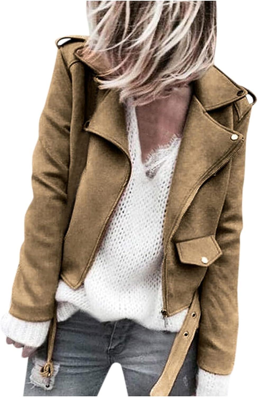 PLENTOP Women's Slim Fit Notched Laple Collar Faux Suede Full Zipper Biker Cool Motorcycle Jacket Jacket