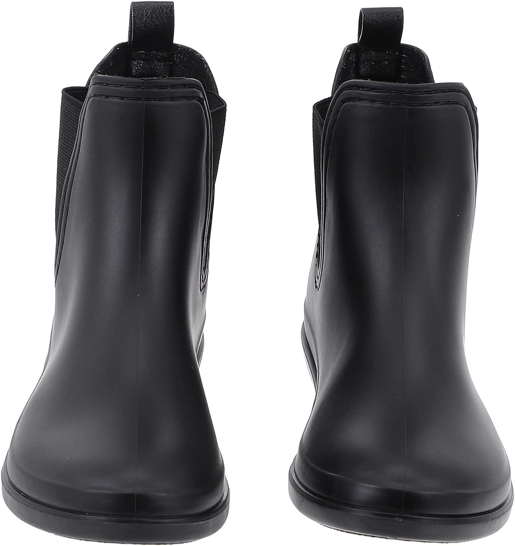 Holibanna Womens Short Rain Boots Waterproof Anti Slip Ankle Booties Women Bottine Flat Heel Rain Shoes for Female Black Size 6US 3. 5UK 36. 5EU