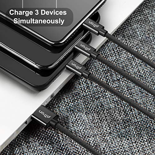 pTron Solero Swing 3 in 1 Fast Charging 2A Cable for Type-C, Micro & iOS Smartphones, Smart Charge 3 Port Data Charging Cable, Power line - (Black)