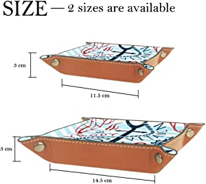 Sea Anchor Valet Tray Storage Organizer Box Coin Tray Key Tray Nightstand Desk Microfiber Leather Pouch,16x16cm