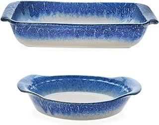 "Libbey Artisan 9"" x 13"" Glazed Ceramic Stoneware Baker Dish Bundled with Round Baking Pie Plate, Blue and Cream"