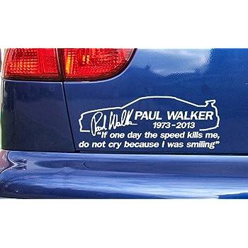 Paul Walker Skyline If The Speed Kills Me RIP Memorial Tribute Vinyl Die Cut Sticker Decal Ref:9 White 200mm x 75mm