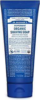Dr. Bronner's - Organic Shaving Soap (Peppermint, 7 Ounce) - Certified Organic, Sugar and Shikakai Powder, Soothes and Moisturizes for Close Comfortable Shave, Use on Face, Underarms and Legs