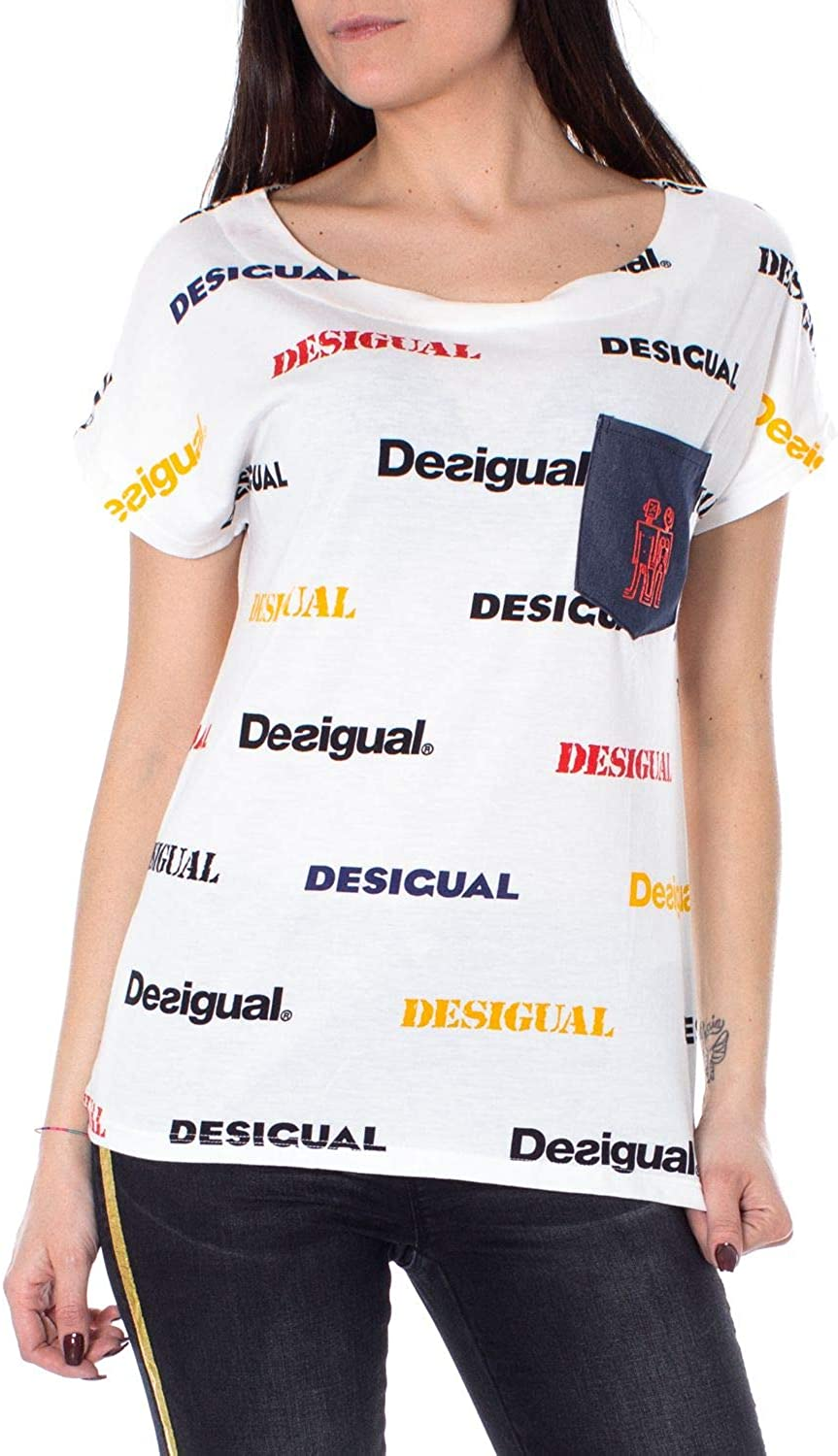 Desigual Women's 19SWTKCHWHITE White Cotton TShirt