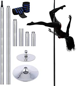 9.4FT Professional Stripper Pole Spinning Static Dancing Pole, Portable Dance Pole Height Adjustable Removable Dancer Beginner Kit for Fitness Exercise Dance Home Pub Party Gym (Free Wrist Brace)