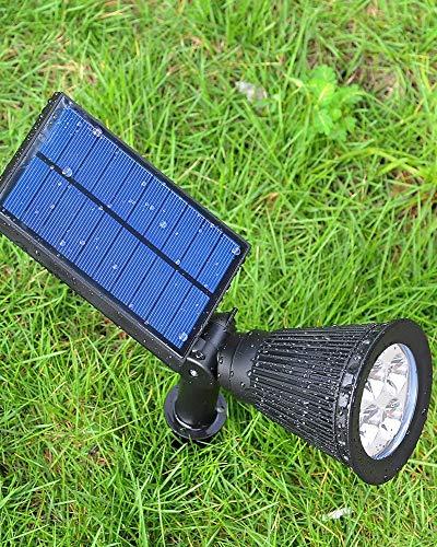 Estaca LED de 3 W con energía solar de jardín IP65 con panel solar integrado para señalar el camino, regulable en patios, color negro