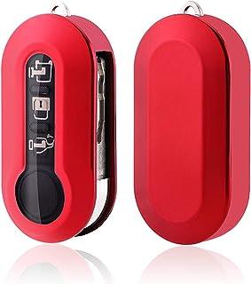 SHAOHAO Schlüssel Hülle für FIAT 500 500L 500E 500C TPU Silikon Autoschlüssel Schlüsselhülle Autofernbedienungen Schutzhülle(Rot)