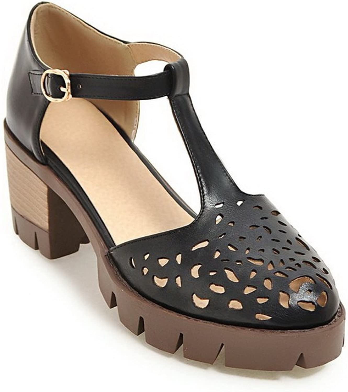 BalaMasa Womens Sandals Kitten-Heels Smooth Leather Urethane Sandals ASL04812