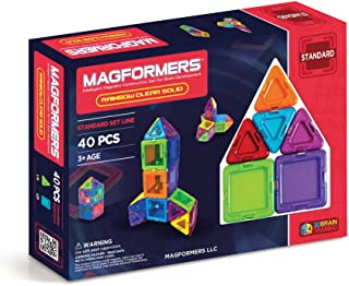 Magformers Basic Clear Rainbow 40 Pieces, Rainbow Colors, Educational Magnetic Geometric Shapes Tiles Building STEM Toy Set Ages 3+