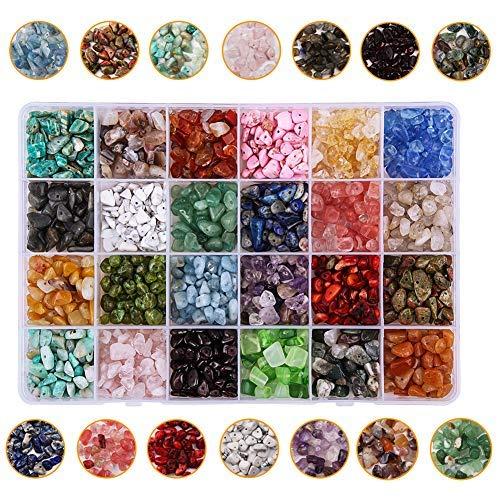 Candygirl - Perlas pequeñas de piedras naturales de cristal, piedras auténticas, irregulares, para la fabricación de joyas, collares, pulseras y anillos.