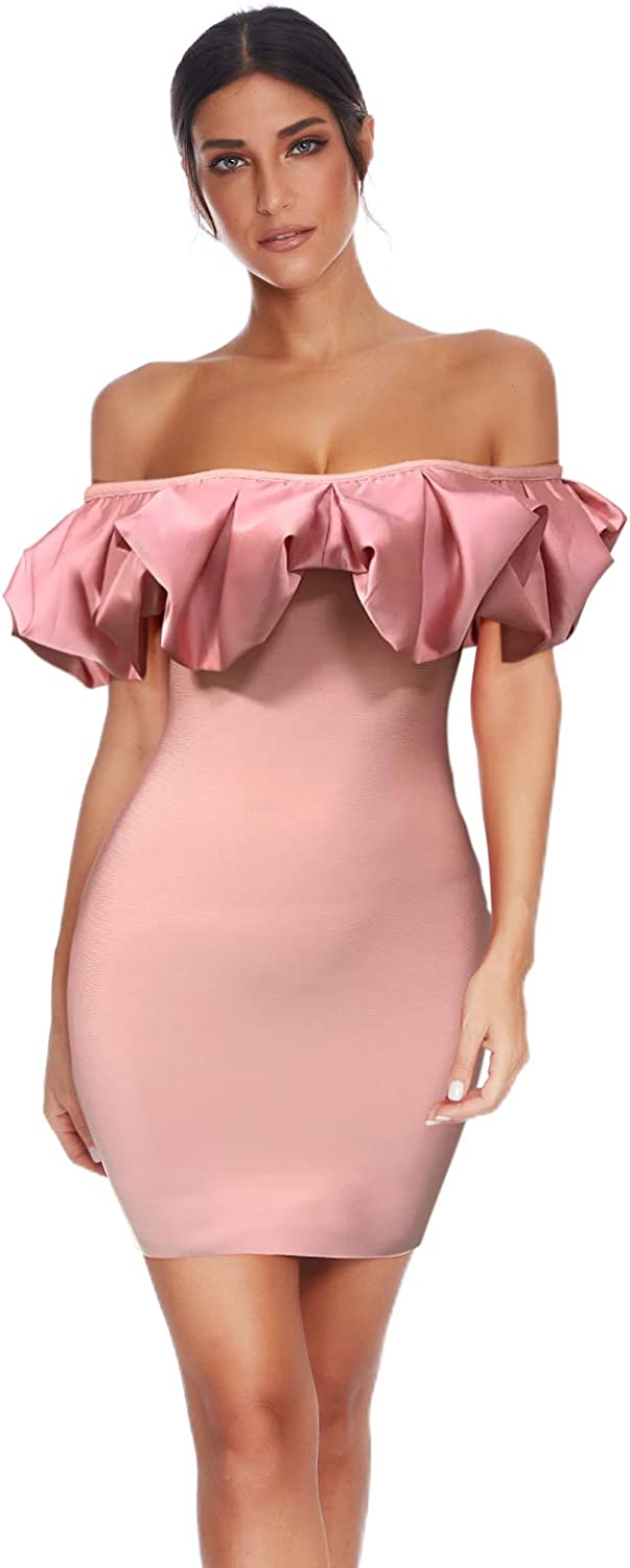 Women's Off Shoulder Ruched Bandage Bodycon Mini Dress for Night Club Wedding Party