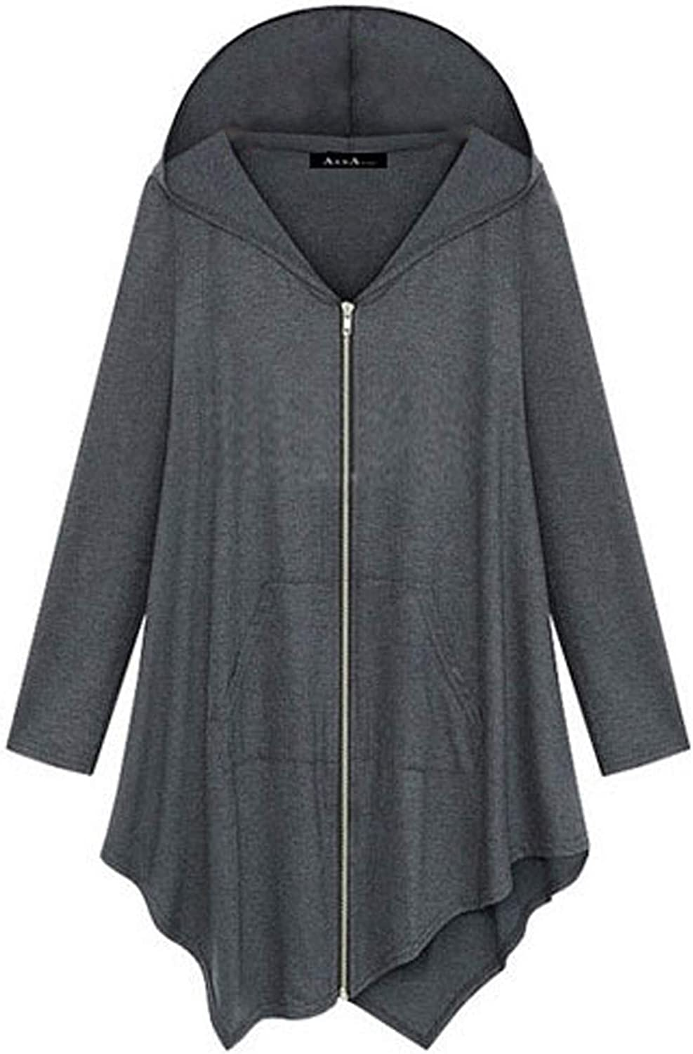 Women's Casual Solid Color Cardigan Mid-Length Loose Fit Zipper Hoodies Lightweight Long Sleeve Soft Pocket Blouse Tops