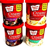 Duncan Hines CREAMY HOMESTYLE FROSTING Variety 4-Pack + FREE set of plastic silverware: 1 can each of CLASSIC CHOCOLATE, CREAM CHEESE, DARK CHOCOLATE FUDGE, CLASSIC VANILLA (16 oz containers)