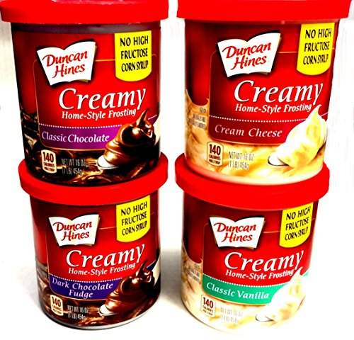 Duncan Hines CREAMY HOMESTYLE FROSTING Variety 4-Pack + FREE set of...