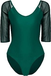 TiaoBug Women s Ballet Leotard 3 4 Sleeve Bodysuit Camisole Gymnastics  Leotard 6b57a63be