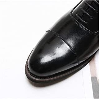 Bin Zhang Fomal Oxford for Men Casual Wedding Shoes Lace up Microfiber Leather Pointed Toe Block Heel Three Joints Burnished Style Non-Slip (Color : Black, Size : 6 UK)