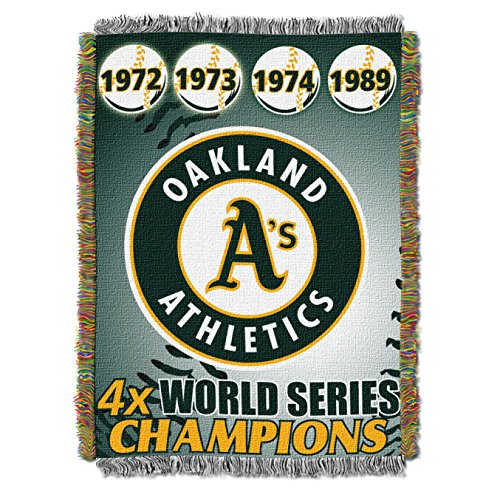 Oakland A's MLB World Series Commemorative Woven Tapestry Throw (48x60 )