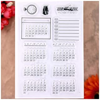 KWELLAM Calendar Week Month Clear Stamps for Card Making Decoration and DIY Scrapbooking