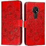 CTIUYA Hülle für Nokia 7.2/6.2, Handyhülle Schutzhülle Flip Hülle Tasche Hülle Leder Geldbörse Klapphülle Kartenfach Brieftasche Magnet Handytasche Lederhülle für Nokia 7.2/6.2,Rot