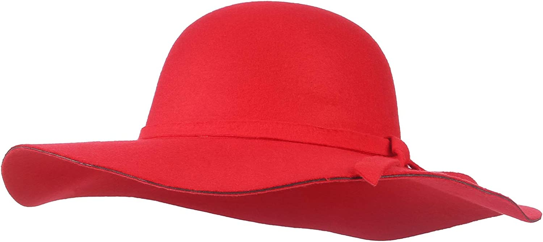 GEMVIE Womens Classic Wide Brim Floppy Fedora Hat Elegant Bowknot Felt Derby Fedora Hat for Travel Outdoor