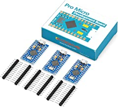 KOOKYE 3PCS Pro Micro ATmega32U4 5V/16MHz Module Board with 2 Row Pin Header for Arduino Leonardo Replace ATmega328 Arduino Pro Mini