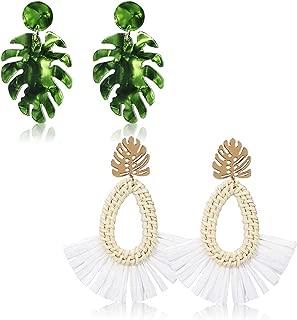 Women's Beaded Tassel Earrings Colorful Fringe Drop Dangle Bohemian Statement Earrings Water Drop Boho Earrings for Women Girls (4 Pair Rattan Acrylic M) (2 pair Teardrop)
