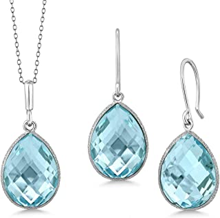 Gem Stone King Sterling Silver Blue Topaz Pendant and Earrings Set 22.50 cttw Pear Shape 16X12MM Gemstone Birthstone with ...