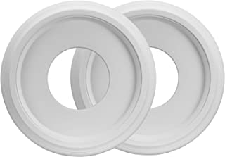 """Canomo 2 Packs Molded PU Ceiling Medallion for Light Fixtures and Ceiling Fans, 10""""OD x 4""""ID, White"""