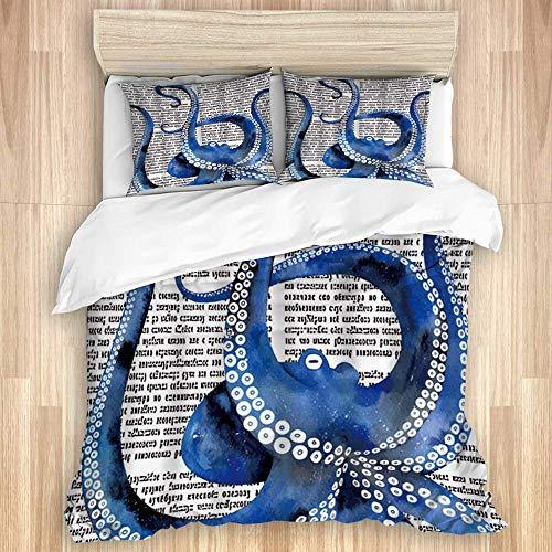 Conjuntos de tapa de un edredón de algodón de lujo, una impresión de pulpo azul en el fondo ruso de periódico retro, 3 piezas, ropa de cama suave, cómodas hojas para niños (incluye 1 cubierta de edred