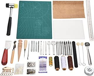 Hilitand 42pcs kit d'Artisanat en Cuir avec des Outils de Travail en Cuir, kit de Perforation Bricolage Professionnel Outi...